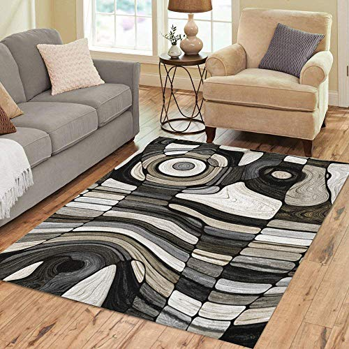 - Pinbeam Area Rug Brown Wood Fantasy Wooden Pattern Gray Arabesque Balk Home Decor Floor Rug 3' x 5' Carpet