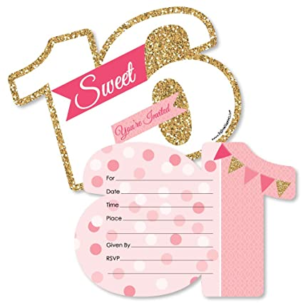 Amazon Com Sweet 16 16th Birthday Shaped Fill In Invitations