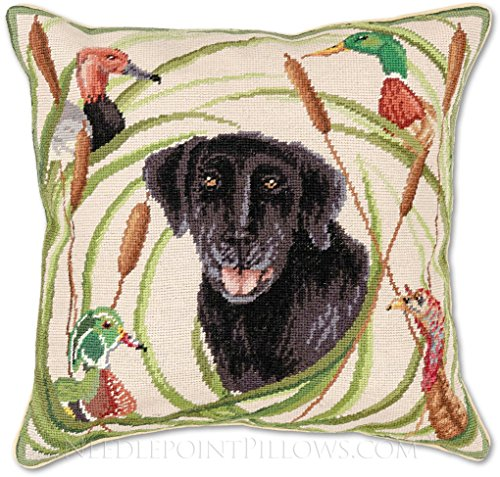 Duck Needlepoint - Handmade 100% Wool Needlepoint Duck Hunting Black Labrador Dog Throw Pillow. 18