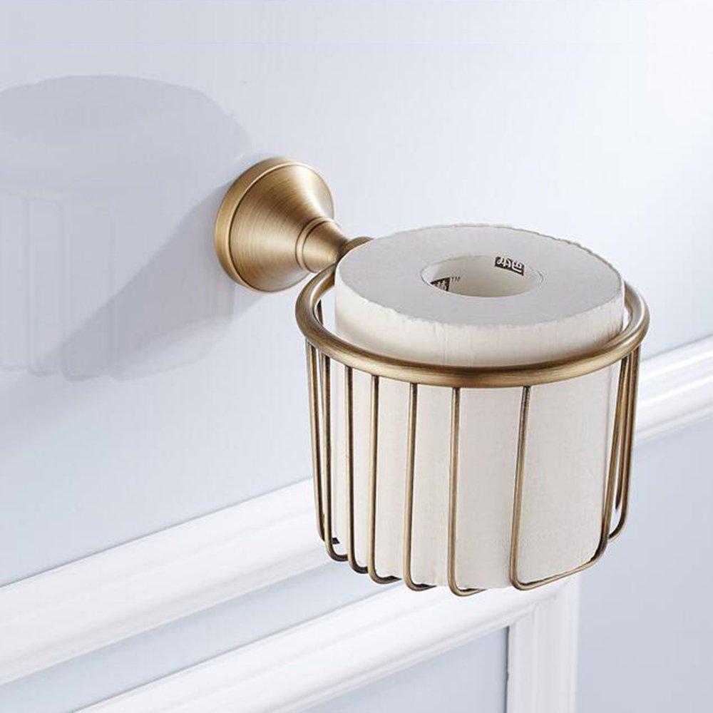 7Trees Solid Brass Bathroom Lavatory Toilet Tissue Paper Holder Tissue Paper Storage Tissue Paper Basket Tissue Paper Organizer Rack (Antique Brass)