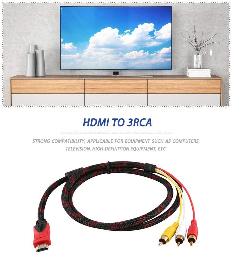 Jessicadaphne Cordons dalimentation Noirs et rallonges Haute qualit/é /à 3 c/âbles RCA de 1,5 m de c/âble de convertisseur Adaptateur m/âle pour HDTV Drop