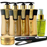 Keratin Cure 0% Formaldehyde Bio-Brazilian Hair Treatment Gold & Honey Complete 10.14 oz 7 piece Kit 300 ML