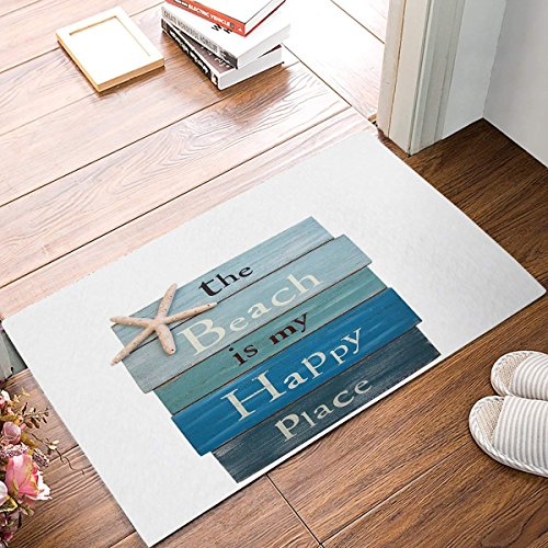 The Beach Is My Happy Place - Plank Board Sign with Starfish Bathroom Rugs Toilet Sets Super Soft Machine Washable Bath Mats 23.6x15.7inch
