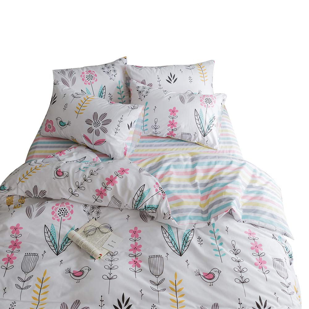 BuLuTu Floral Bird Print Pattern Girls Duvet Covers Queen White Premium Cotton Spring Blossom Colorful Reversible Kids Bedroom Comforter Cover Full Bedding Sets Zipper for Teen Toddler,NO Comforter