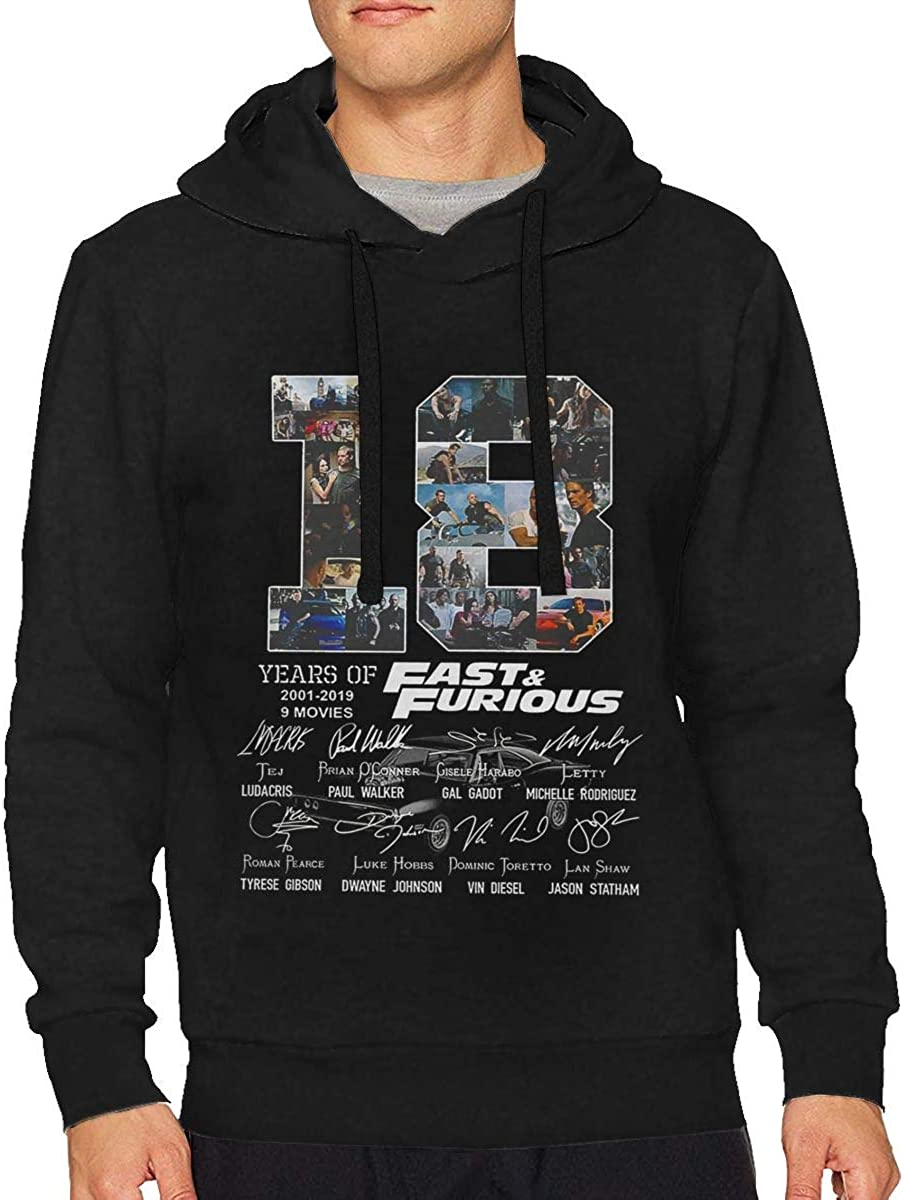 AdelineEstell 18 Years of Fast and Furious 2001 2019 9 Films Signature Mens Leisure Keep Warm Hoodie