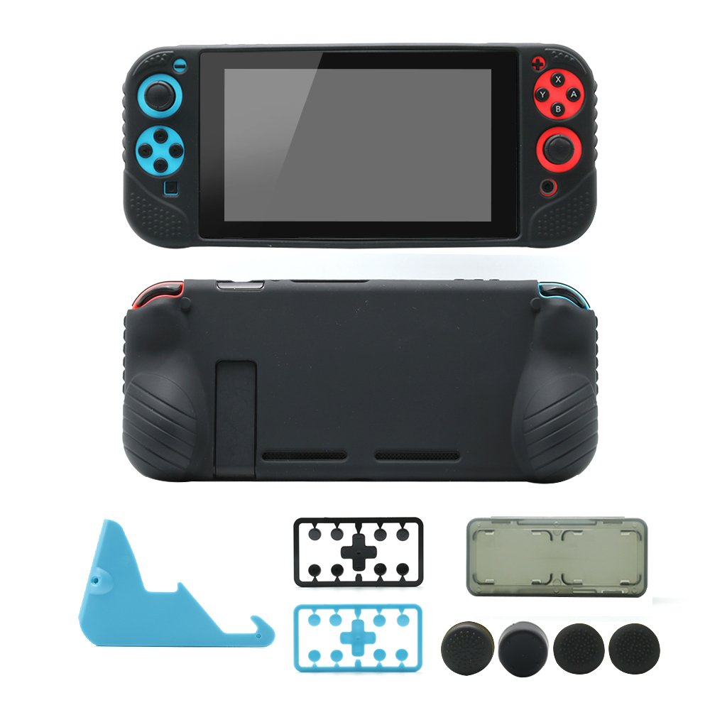 Nintendo Switch Starter Kit: Grip Case Cover Skin for Switch Console & Joy Con, Charging Stand, Silicone Thumb Grips, Plastic Button Caps, Card Box, 5 in 1 Accessories Bundle for Switch