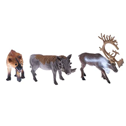 Amazon Com Magideal 3 Pieces Realistic Animal Model Wild Reindeer