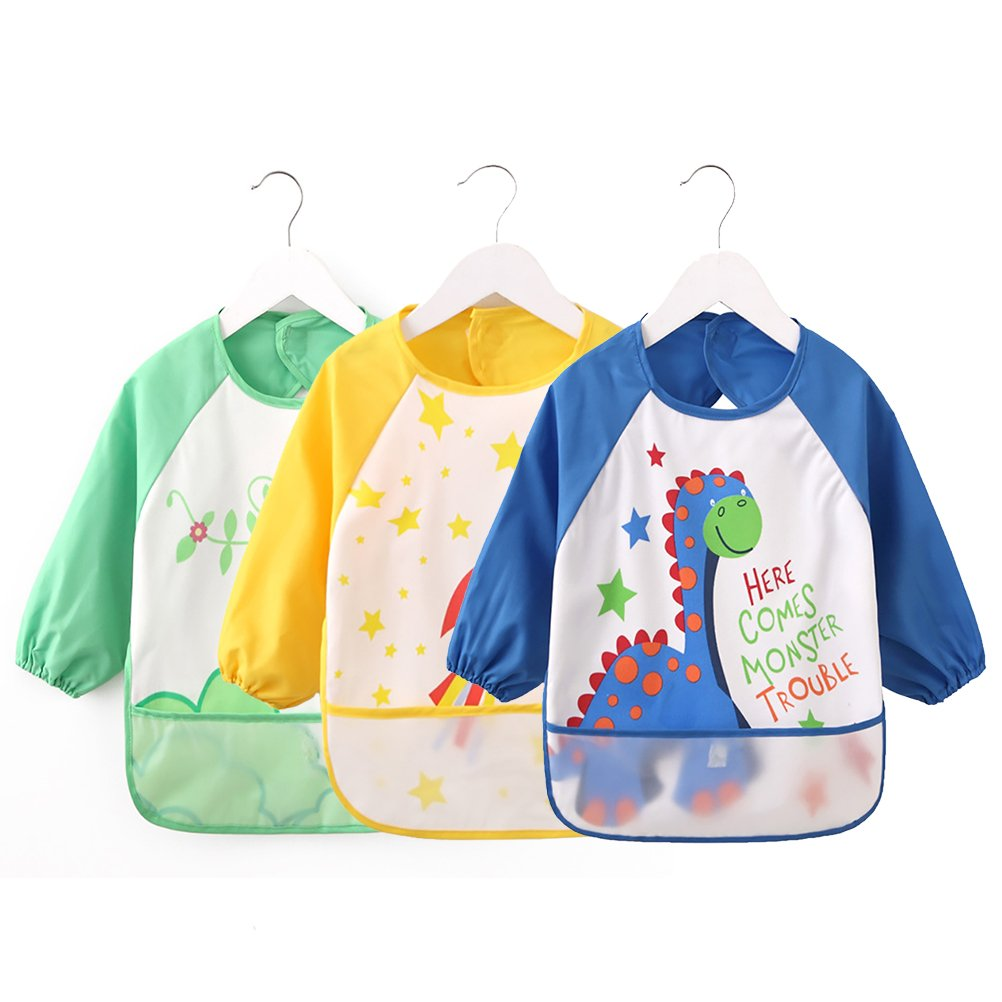 Vicloon Sleeve Bibs,Set of 3 Waterproof Long Sleeve Baby Bib for Kids Feeding Arts Craft Painting Apron Front Pocket Children Aged 1-3 Years