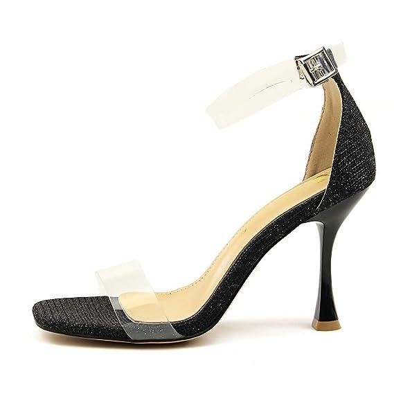 ae36157cd4d48 Amazon.com: LIANGXIE Women's High Heels Cross Party Wedding Shiny ...