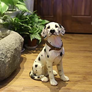 "Danmu 1Pc of Polyresin Dalmatian Dog Statue, Garden Statues, Outdoor Statues, Garden Ornaments, Yard Statue for Home and Fairy Garden Decor 9"" x 6 3/5"" x 13 7/10"""