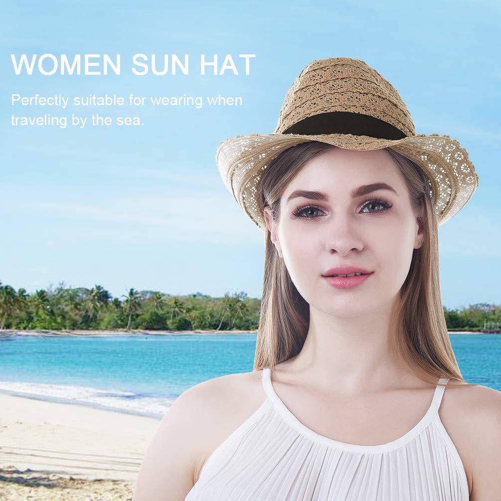 VBIGER Unisex Sonnenhut Faltbarer Strohhut Panamahut Herren Strohhut Fedora Damen Sommerhut für Damen und Herren