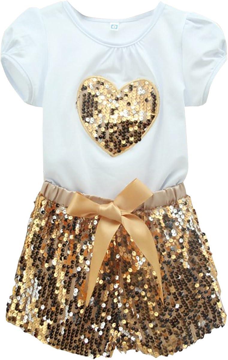2016 Baby Kids Girls Heart Tops Shirt+Bead Pants Dress Outfits Set