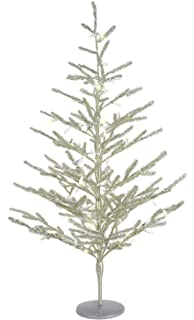 ten waterloo 40 inch pre lit battery operated tinsel christmas tree antique silver timer