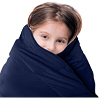 LUNA Kids Weighted Blanket | Individual Use - 5 lbs - 36x48 - Child Size Bed | 100% Oeko-Tex Certified Cooling Cotton & Glass Beads | USA Designed | Heavy Cool Weight | Navy
