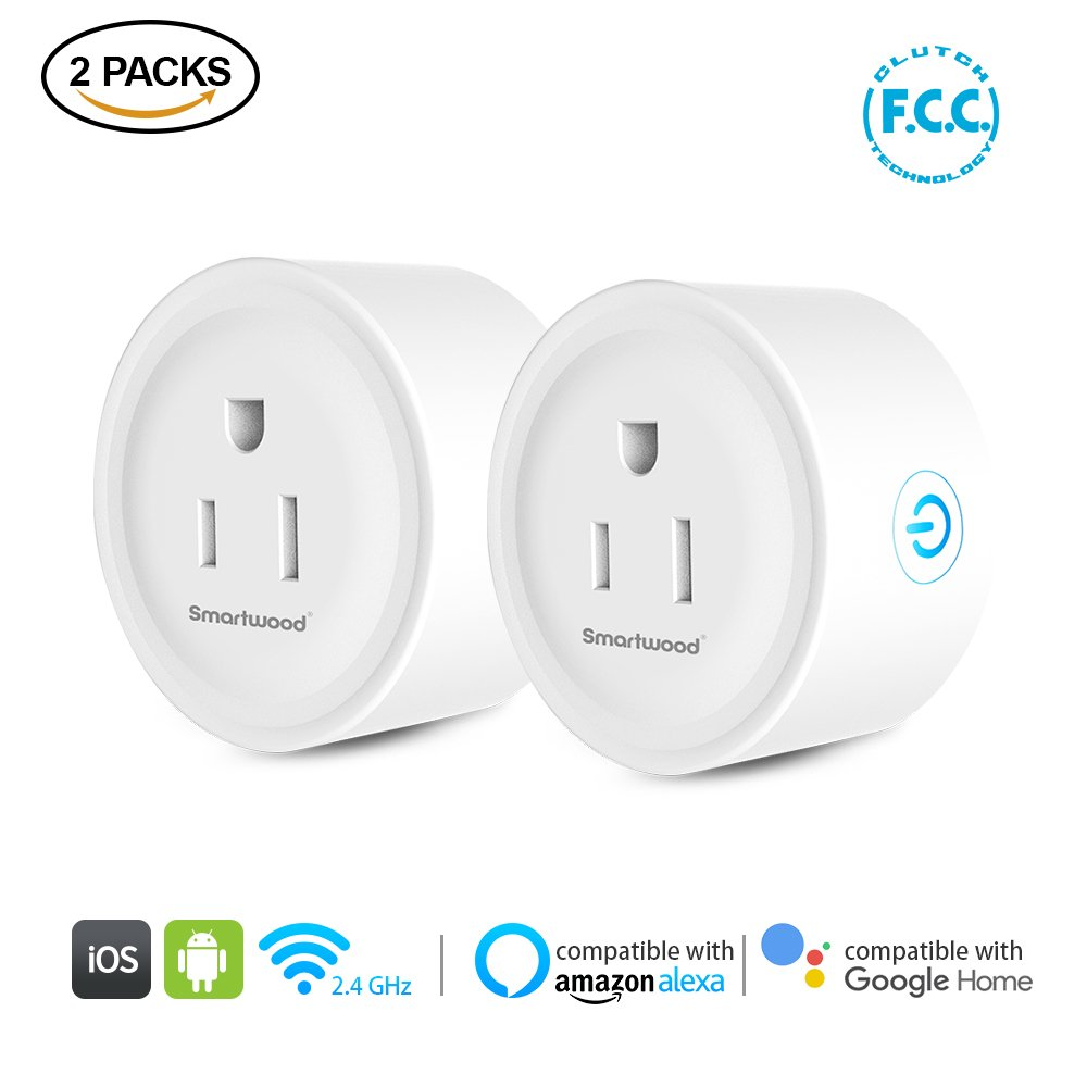 Smartwood Wifi Smart Plug, 2 Packs Smart Home Mini Outlet Compatible with Amazon Alexa & Google Home, Remote Control by Smart Phone with Timing Function from Anywhere, No Hub Required