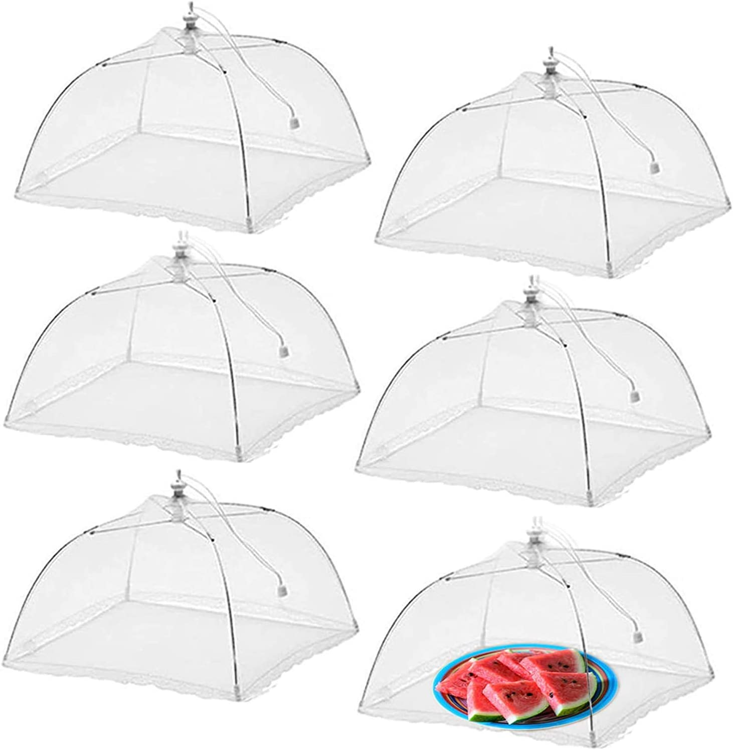 Simply Genius (6 Pack) Large and Tall 17x17 Pop-Up Mesh Food Covers Tent Umbrella for Outdoors, Screen Tents, Parties Picnics, BBQs, Reusable and Collapsible 6 PCS