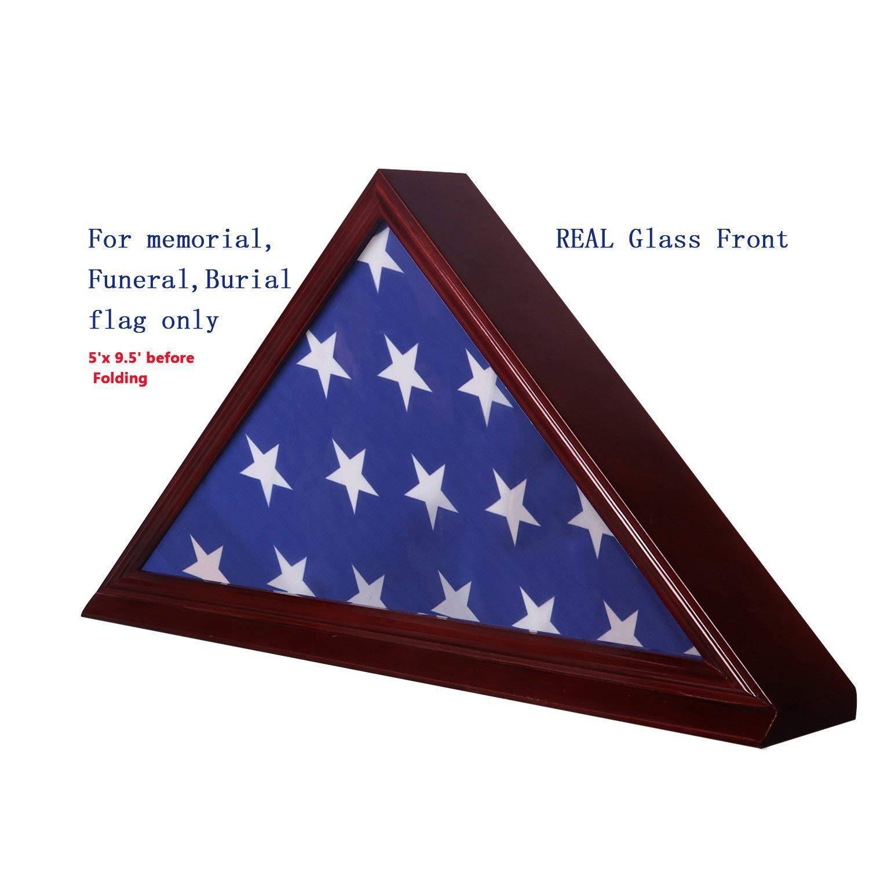 Manfei Solid Beech Wood Flag Display Case for 5''X 9.5'' Burial/Funeral/Veteran Memorial Cherry