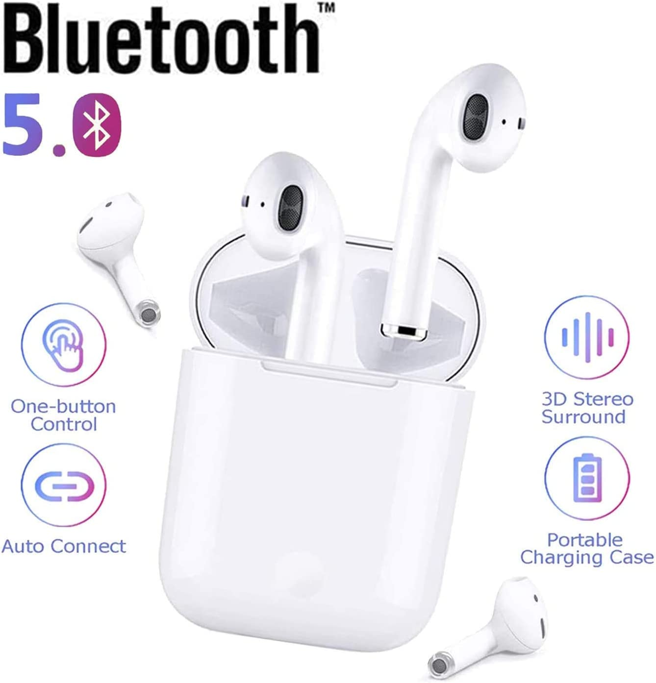 Auriculares Bluetooth 5.0 Auriculares Inalambricos Cascos Bluetooth Headphone Deportivos con Mic y Cancelación de Ruido Caja de Carga - Auriculares Compatible con iPhone Airpods/Samsung/Huawei