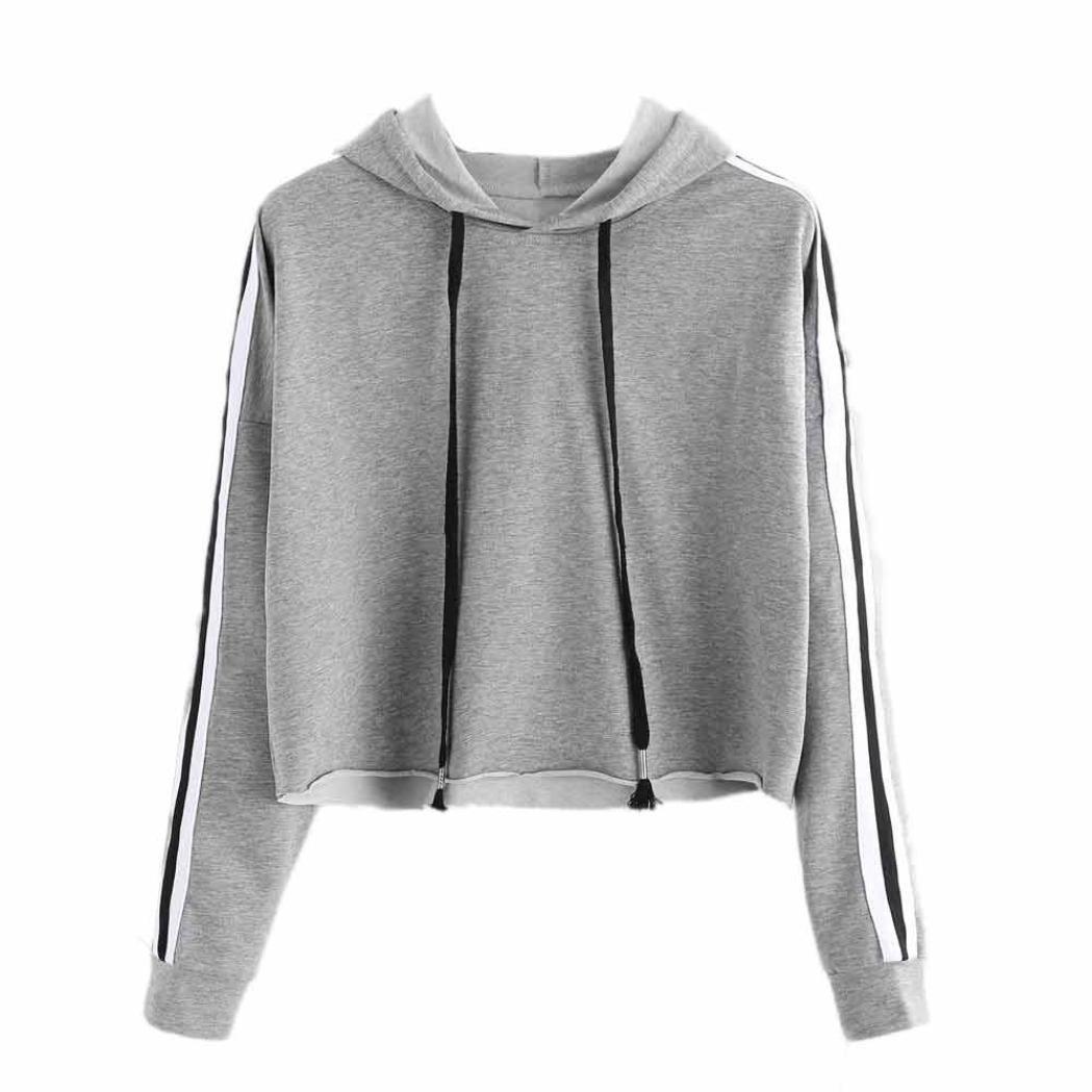 Womens Fashion Sweatshirt, Gotd Long Sleeve Hoodie Pullover Sweatshirts Crop Top Coat Sports (L, Gray)