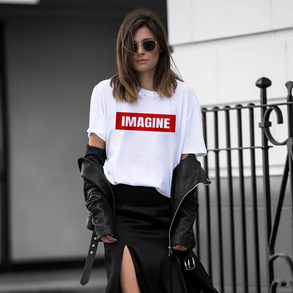 f360a33ed Amazon.com: IMAGINE Women's Graphic Cute Tee Supreme Oversize Tops Junior  Teen Girls T Shirt: Handmade