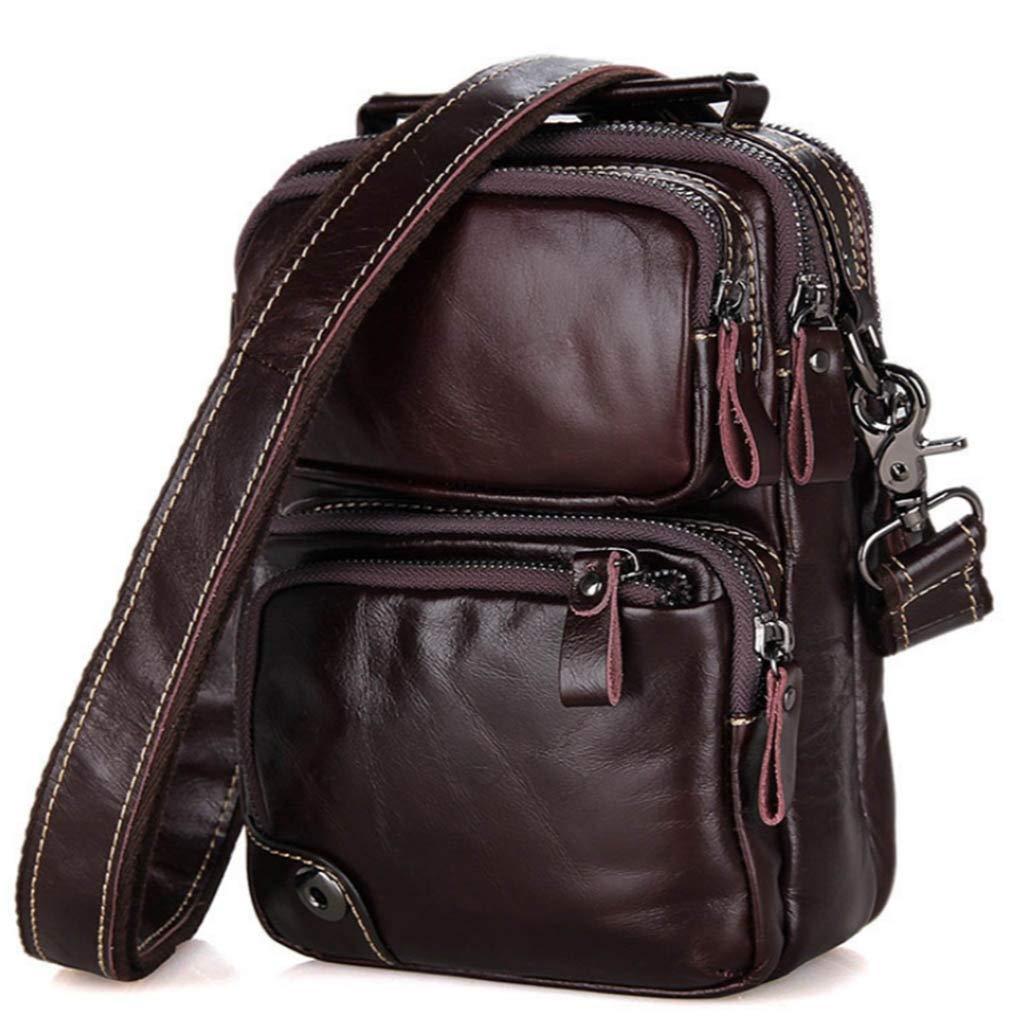 KVKY Mens Causal Leather Shoulder Bag Vintage Top Layer Oil Wax Cowhide Leather Bag Commuter Bag Color : Black, Size : 167.521.5