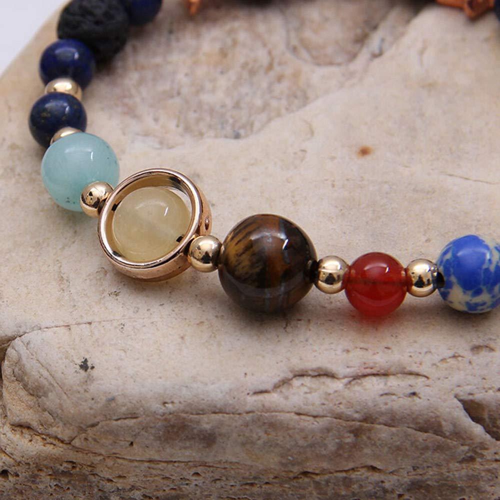 A Women Solar System Eight Planetary Bracelets Natural Stone Bead Bracelet Charm Bracelet Gift for Girls Mens Teens Student Best Friend Forever
