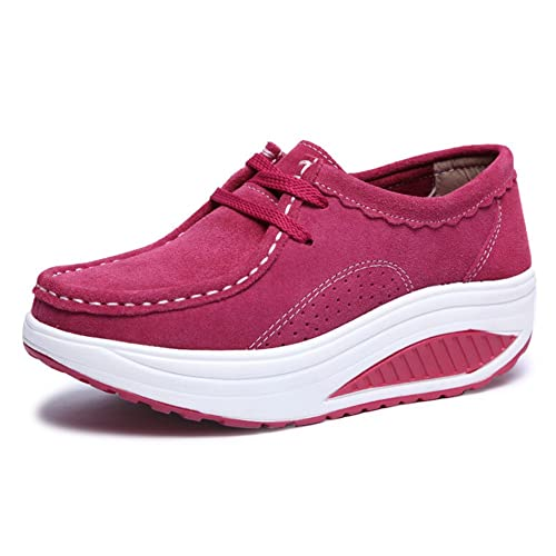 Zapatos Plataforma de Cuña Mujer Cuero Gamuza Deporte Zapatillas Invierno Otoño Plano Mocasines Botas: Amazon.es: Zapatos y complementos