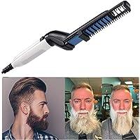 Lomire® Homme Brosse à Barbe lissante rapide, Peigne à cheveux bouclés électrique multifonctionnel pour tous types de cheveux, Men Quick Beard Straightener Comb pour voyage salon des hommes garçons