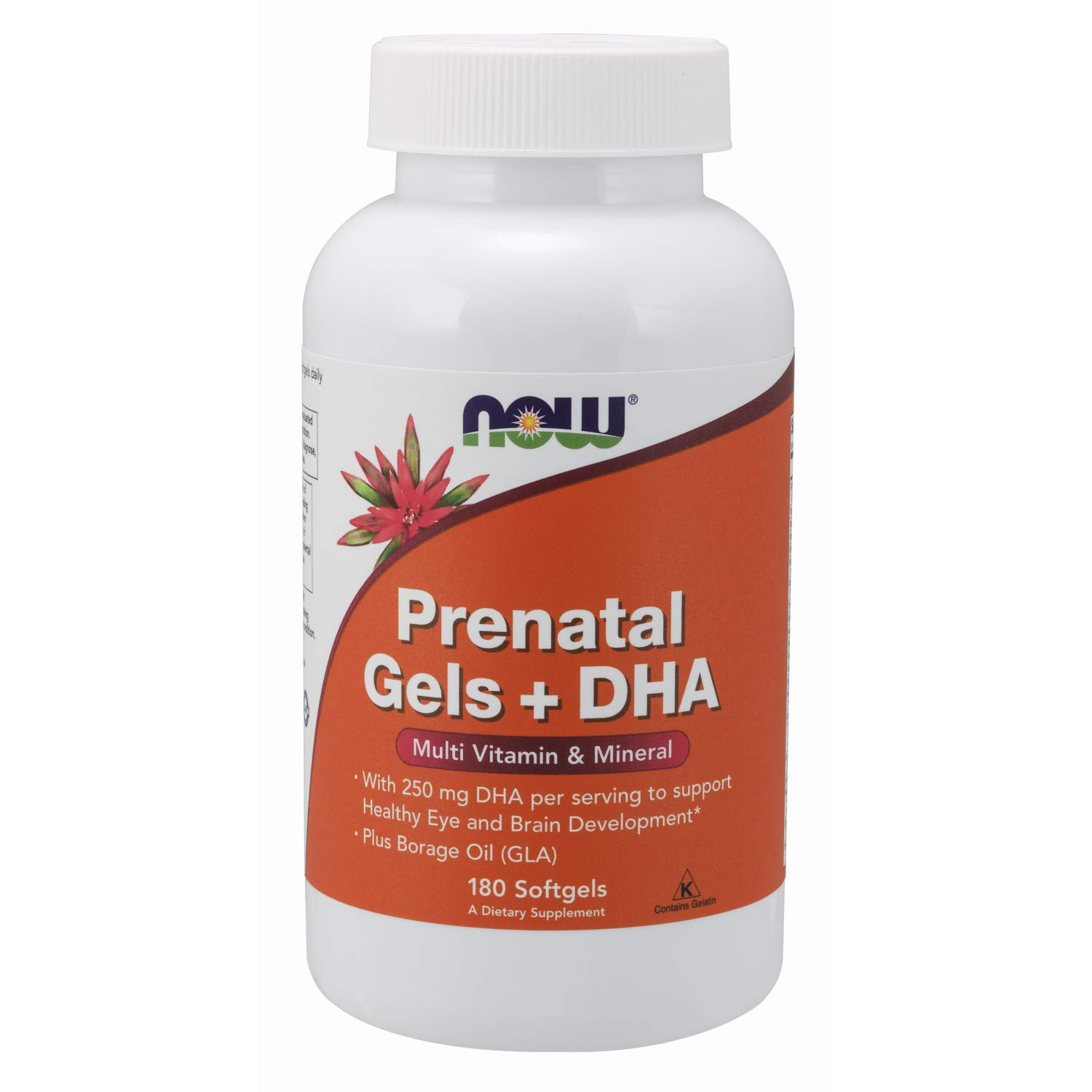 NOW Supplements, Prenatal Gels + DHA with 250 mg DHA per serving, plus Borage Oil (GLA), 180 Softgels by NOW Foods