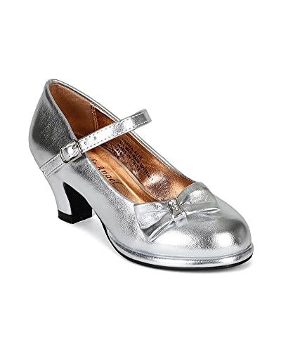 3b4831d48eb9 Women Metallic Leatherette Bow Mary Jane Kitty Heel Pump (Toddler Little  Girl Big Girl) CJ31 - Silver Metallic
