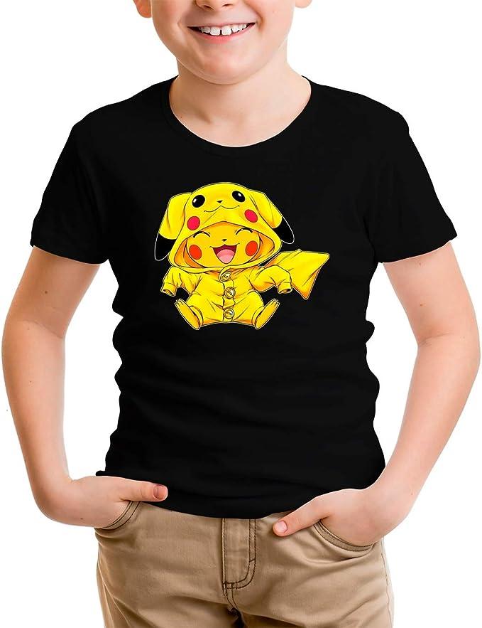 Ref:881 OKIWOKI Maglietta per Bambini e Ragazzi Nera Pok/émon umoristico con Pikachu Parodia Pok/émon
