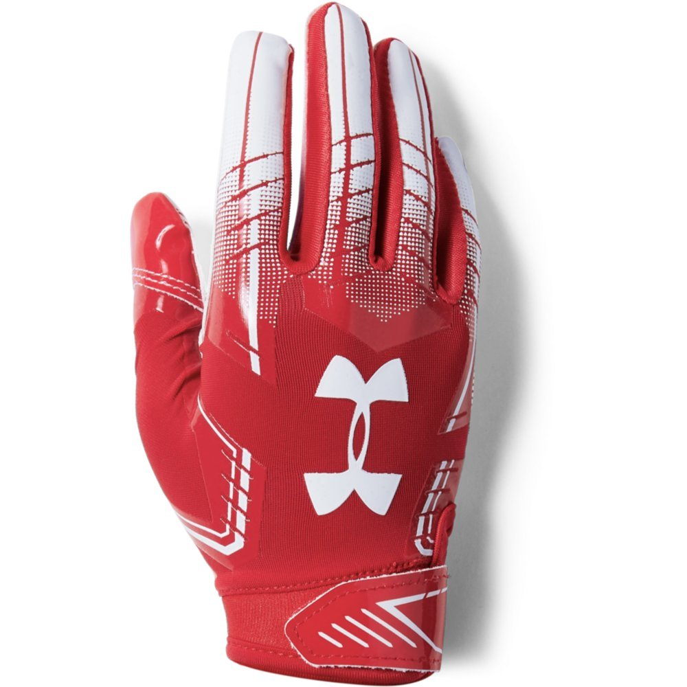 Under Armour Boys' Pee Wee F6 Football Gloves, Red (600)/White, One Size