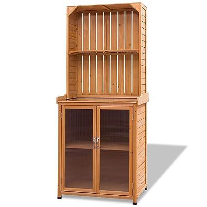 Superbe CHOOSEandBUY Wooden Potting Bench Outdoor Storage Cabinet Organizer  Cupboard Shelves