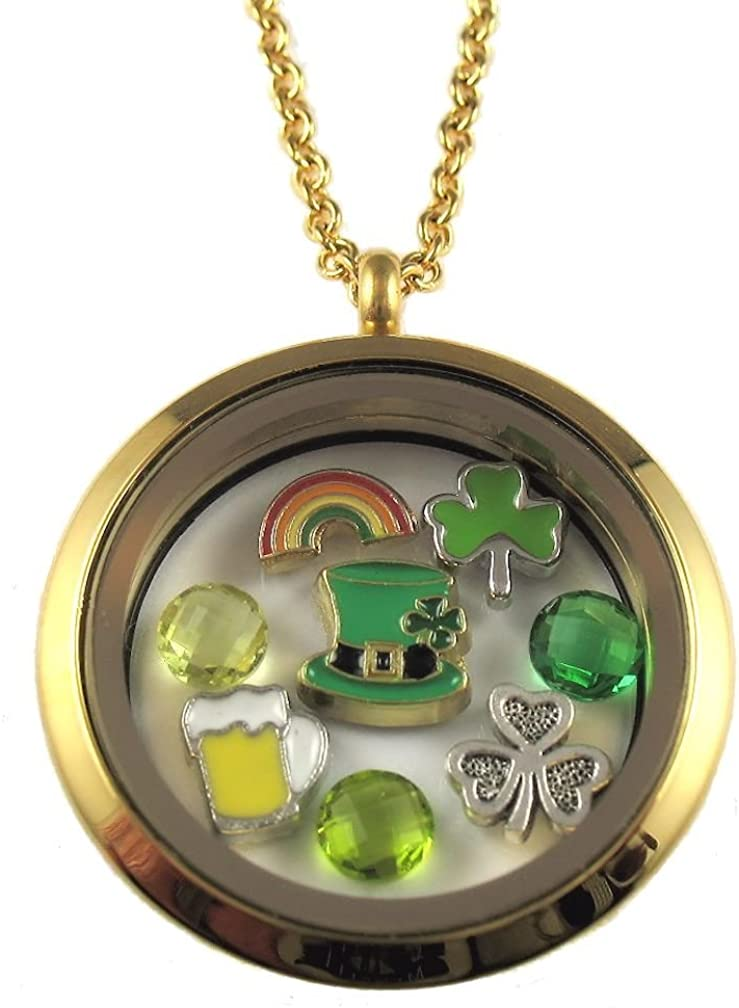 Patrick/'s Day Floating Locket Necklace Set-14 Piece Set-Gift Ideas for Women St