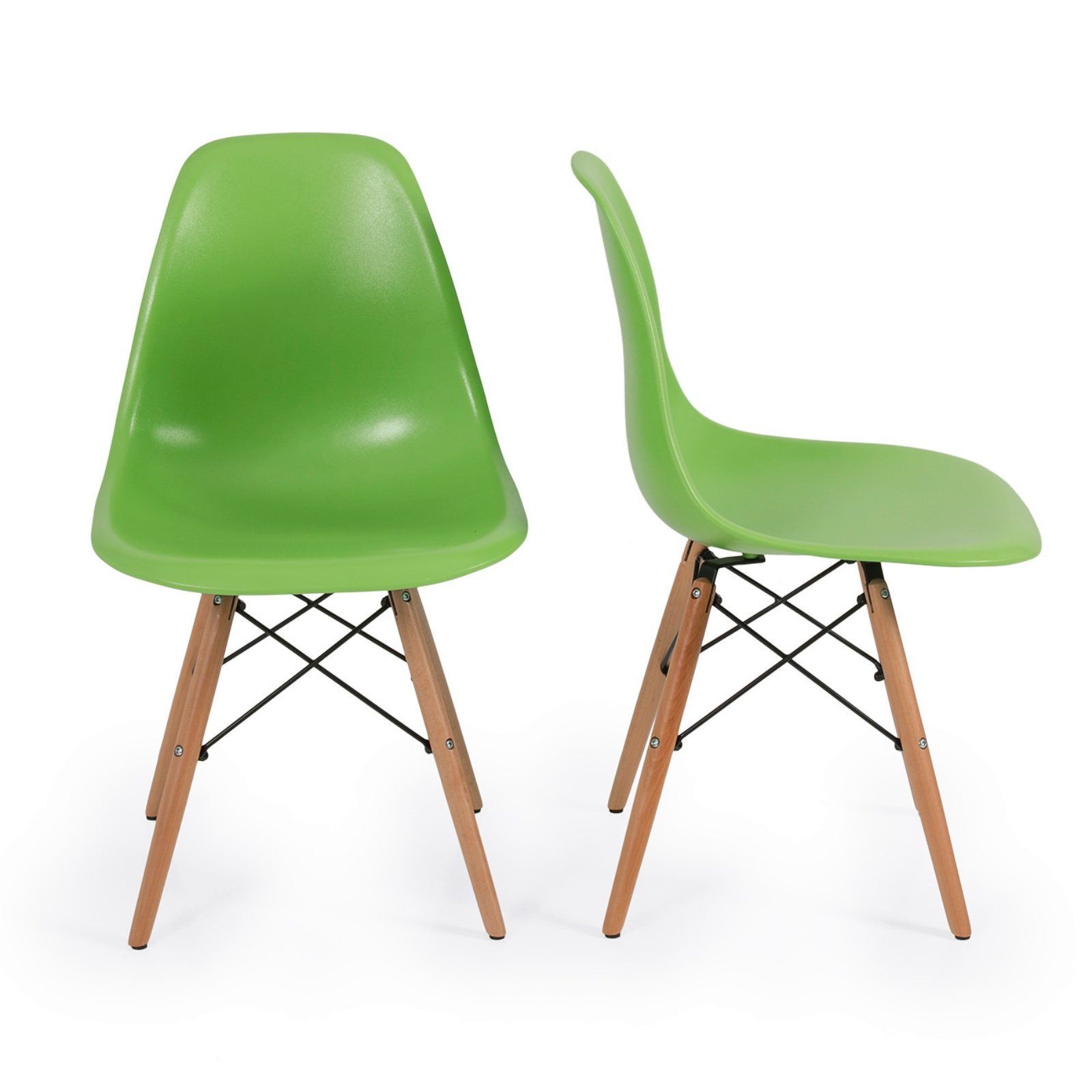 Set of 2 Retro Style Wood Base Mid Century Modern Shell Dining wooden Chair Dowel legs Green #566