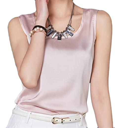 Cromoncent Women s Summer Sleeveless Silk Satin Elegant Tank Tops ...