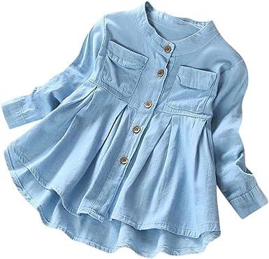 K-youth Vestido para Niñas, Ropa Bebe Niña Recién Nacido Denim Fruncido Manga Larga Camiseta Tops Blusa Vestido de Falda de Manga Larga Vestidos Niña Fiesta: Amazon.es: Ropa y accesorios
