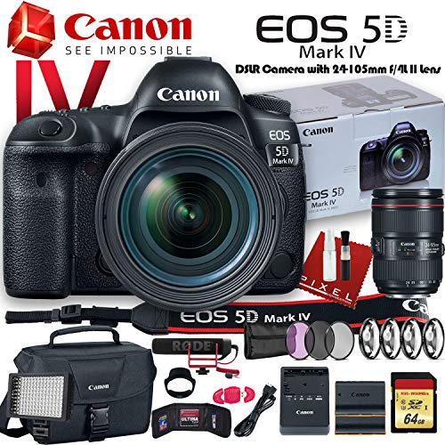 (Canon EOS 5D Mark IV DSLR Camera with 24-105mm f/4L II Lens (USA Model) (1483C010) W/Canon Bag, Extra Battery, LED Light, Mic, Filters and More - Advanced Bundle)