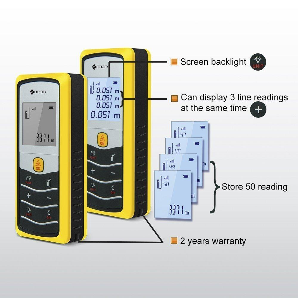 amazon com etekcity laser distance measurer meter tape 50m 164
