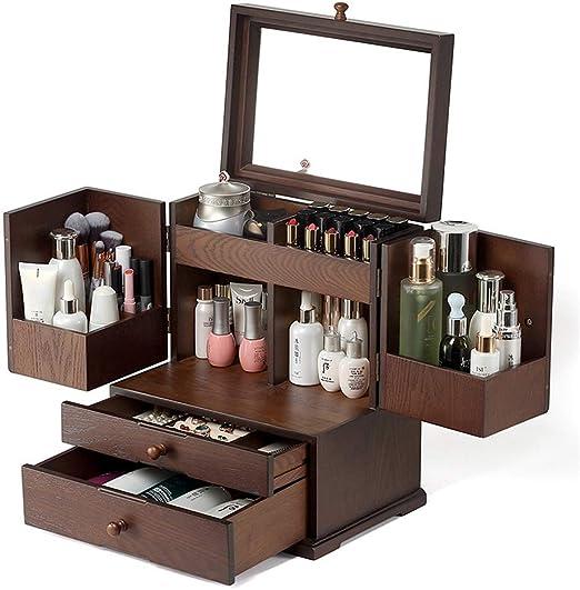 Organizador de maquillaje de Madera y Caja de Almacenamiento de ...