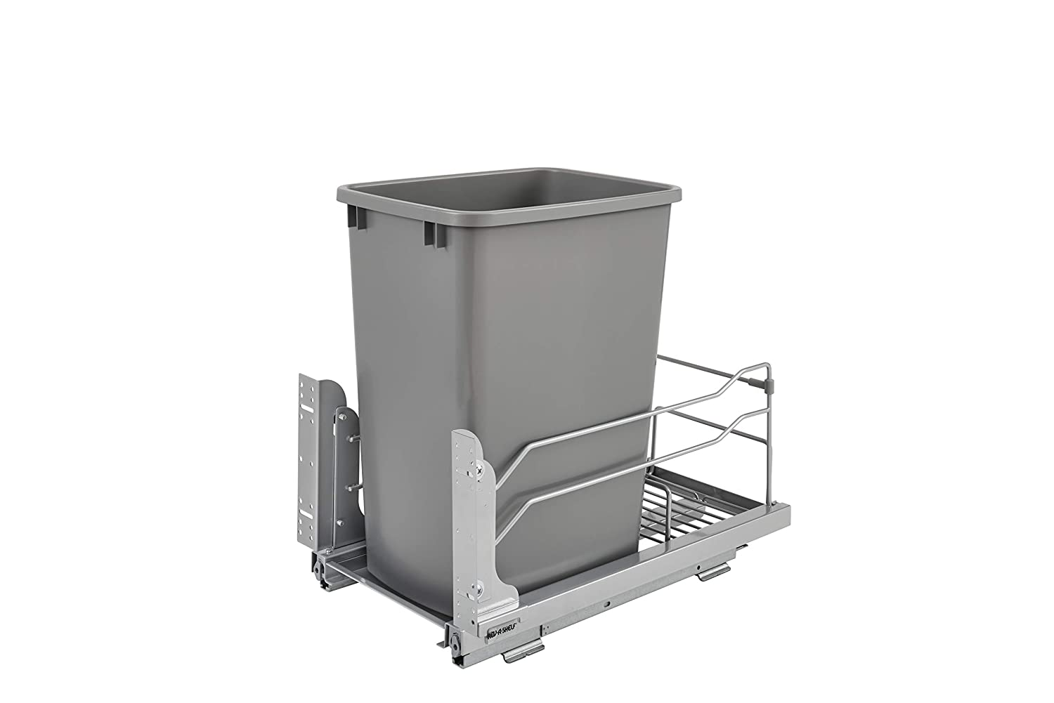 Rev-A-Shelf - 53WC-1535SCDM-117 - Single 35 Qt. Pull-Out Silver Waste Container with Soft-Close Slides
