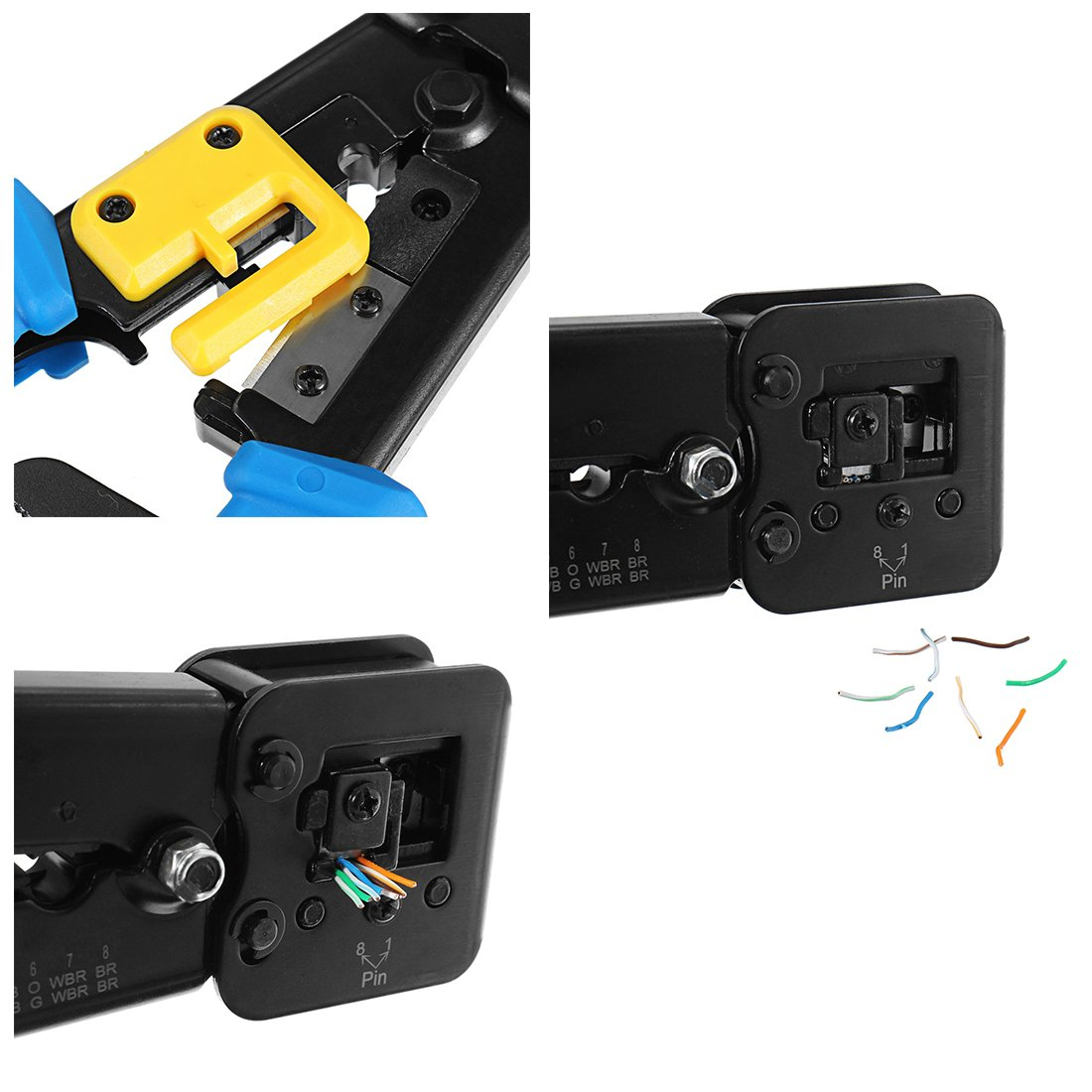 RJ45 Crimp Tool 6P 8P Multi-function Cable Cutter Pass Through Crimper Ethernet Cable Connector Crimping Tool Ratcheting Hand Tools Bonus CAT6 Connector 20 Pack by Ewans (Image #5)