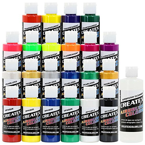 Createx Colors Airbrush Paint - 22 Colors and Cleaner - 2 oz Createx Paint 2 Oz Bottle