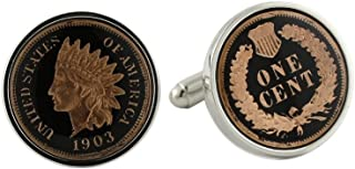 product image for David Donahue Sterling Silver Black Indian Head Penny Cufflinks (H95508302),Multicolored,One Size
