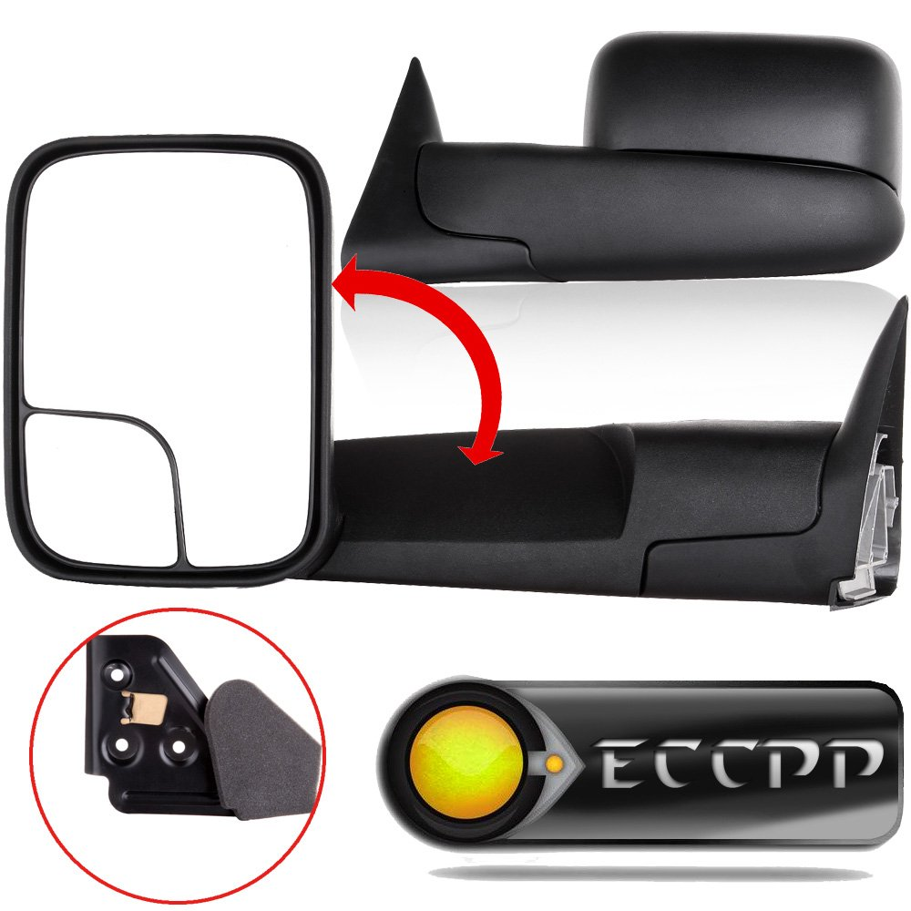 ECCPP Towing Mirror fit for 94-01 Dodge Ram 1500 94-02 Ram 2500 3500 w/Support Brackets Manual Black Side View Mirrors by ECCPP