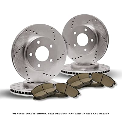 [Front+Rear Full Kit][Ready-to-Install] 4 Cross Drill TOP-NOTCH Disc Brake Rotors + 8 Semi-Metallic Pads[Camry][5lug]