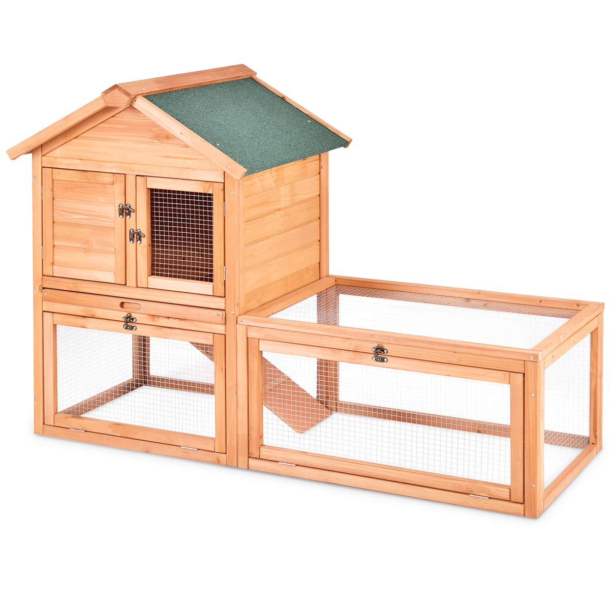 Tangkula Chicken Coop Outdoor Wooden Chicken Coop Garden Backyard Farm Bunny Hen House Rabbit Hutch Small Animal Cage Pet Supplies for Chicken, Duck, Rabbit, etc (56'' x 26'' x 39.5''(L x W x H)) by Tangkula