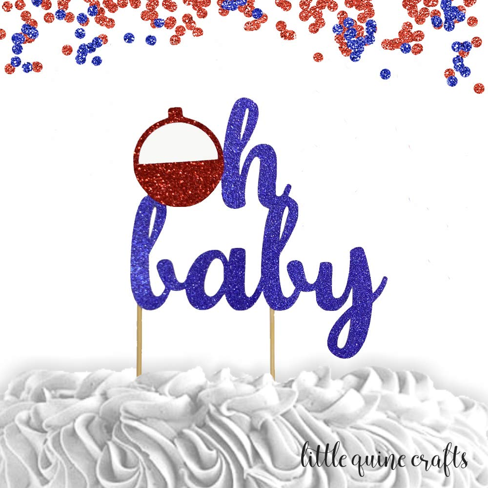 1 pc oh baby bobber cake topper baby shower baby boy gone fishing party theme red and blue glitter