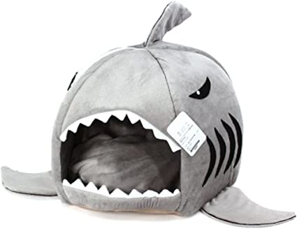Padded Fleece Grey Shark Pet House Cosy Cave Cat//Dog Bed Kennel Soft /& Warm E