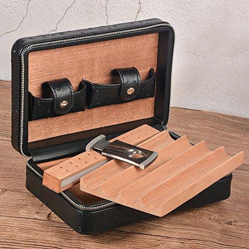 Portable Travel Cigar Case Leather Cigar Case Spanish Cedar Wood Portable Cigar Humidor, Cigar Box with Cigar Cutter and Humidifier for 4 Cigars by CigarHub (Image #7)